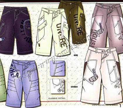 童装休闲裤设计手稿