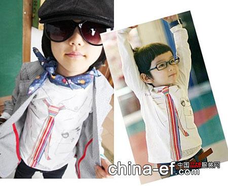 假领带长袖t恤 打造韩国小童星